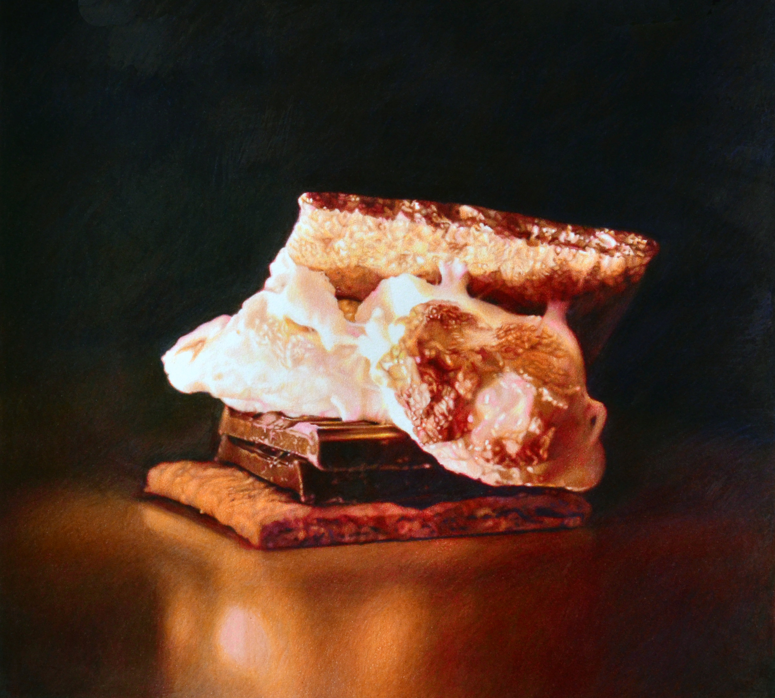 "S'more, 15 x 16,"" colored pencil on paper, SOLD"