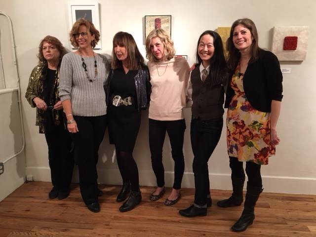 """Foodies"" artists and gallery owner/curator at the opening reception (left to right): Sue Simon, Susan Rubin, Sandra Phillips, Kate O'Donnell Woodliff, Margaret Kasahara, and Anna Kaye"