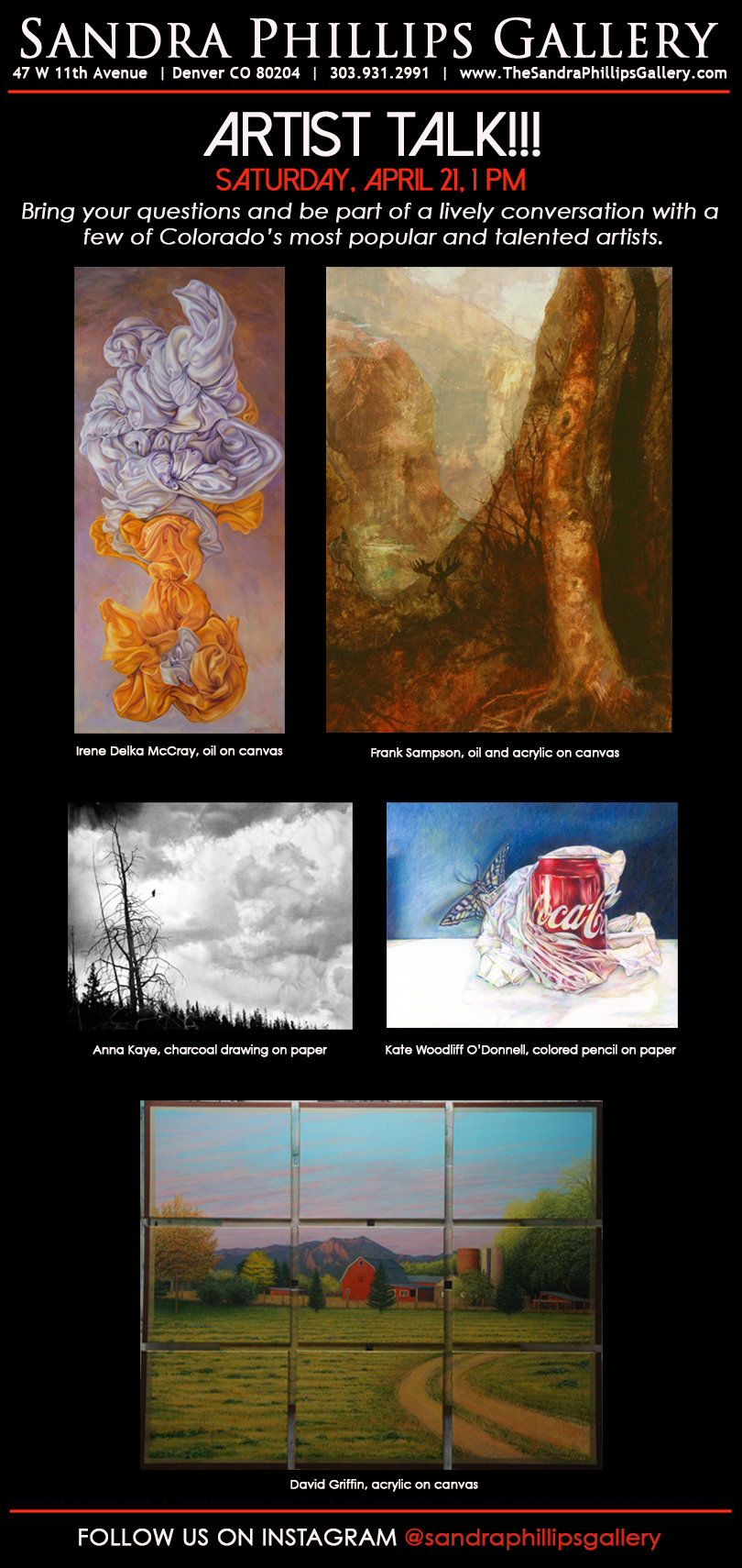 Conversations about Art - I'm excited to announce my upcoming artist talk at Sandra Philips Gallery for Counterpoint, an exhibit that explores referential abstraction and realism, rich in metaphor and symbolism. Please join us on Saturday, April 21st at 1:00 p.m. for an artist talk that will highlight each artist's process and content with a special emphasis on art in a digital social media world.