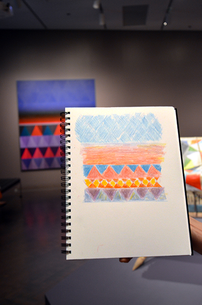 "Cherie Fisk's drawing of ""Horizon,"" she enjoyed the vibrancy of the colors."