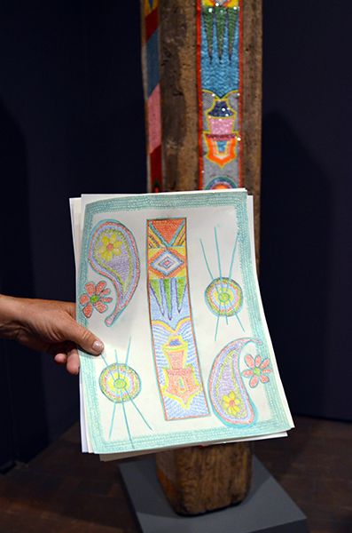 "Gail Howard's drawing of ""Beaded Column."" She appreciated the artist's use of color and music to celebrate native culture, modern culture, and change."
