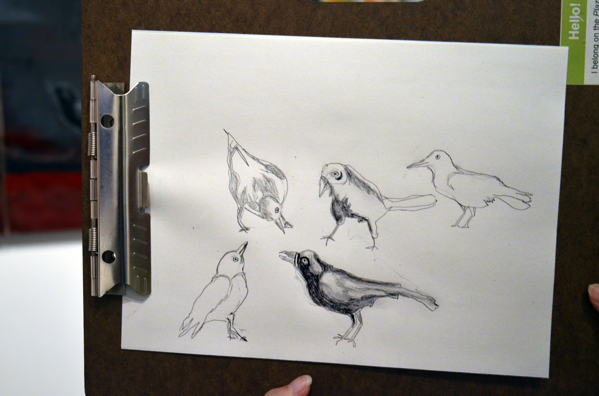 "Cindy Derzay drawing of birds in Julie Buffalohead's ""Straight Legs"" painting"