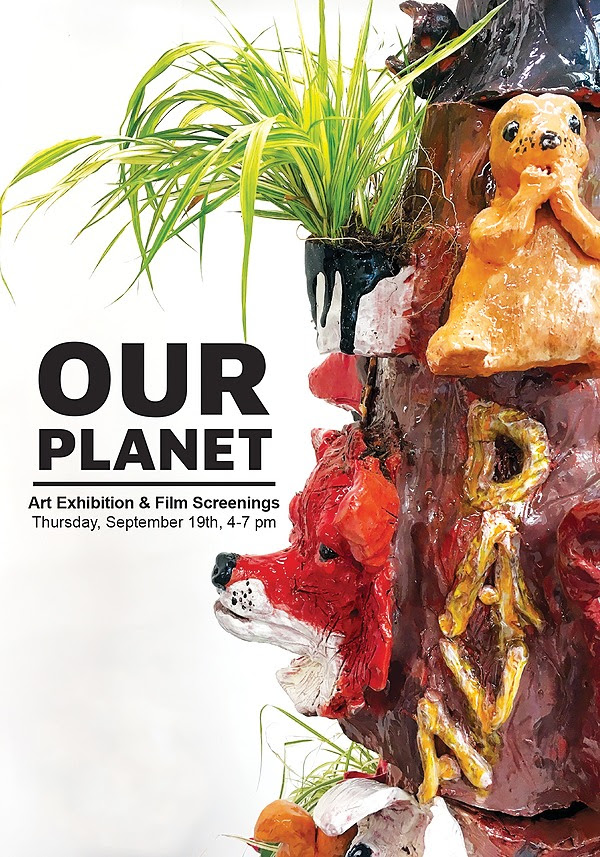 """Our Planet @ DAVA - Please join us at DAVA for """"Our Planet"""" artworks and films by DAVA Youth with guest artists Natascha Seideneck. The exhibit will be open through November 13, 2019 and the opening reception is on Thursday, September 19th from 4-7 p.m. Gallery hours are M - F, 10 a.m. to 5 p.m.Dave youth artists explore the natural environment and the urgent need to respect the earth. DAVA middle and high school students are inspired by field work about water, pollution, and natural ecosystems with Aurora Water and Bluff Lake Nature Center. Computer Art Lab students were excited to attend DAVA's annual film camp in partnership with the Colorado Film School at the Community College of Aurora. The teens told powerful stories about social and environmental concerns using a variety of formats from animation to documentaries. Guest artists Anna Kaye and Natascha Seideneck add depth to this exhibition with artwork about forest fires and environmental disasters. The gallery is located at 1405 Forence Street, Aurora CO 80010."""