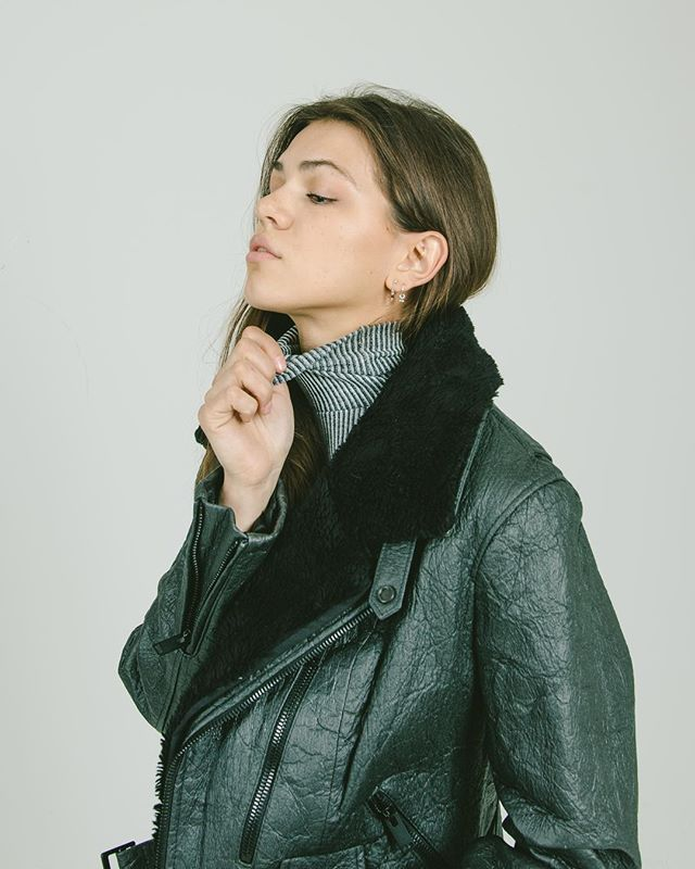 Our black Piñatex biker jacket with organic cotton shearling collar