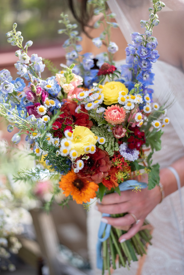 Colorful spring wildflower bouquet for outdoor wedding at Sprit of the Suwanee Music Park.