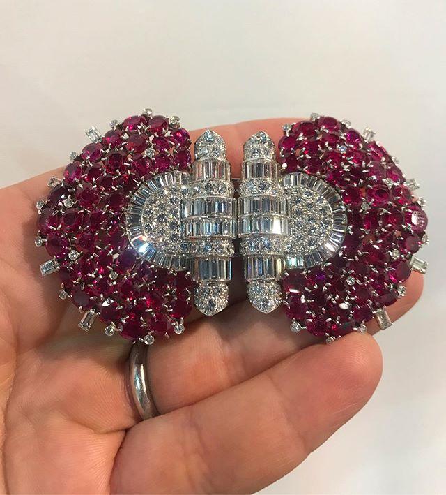 An impressive Art Deco Burma ruby and diamond double clip brooch mounted in platinum #burmanoheat #artdeco#rubyanddiamond#forsale #jsjewelsltd #booth838lasvegasconventioncentre