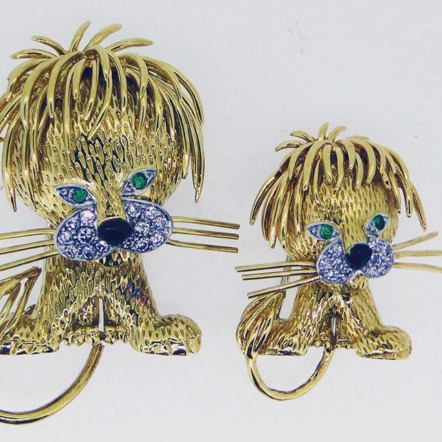 Van Cleef and Arpels emerald and diamond lion brooches-Wishing all my fellow Leo's  a great birthday month !!#vancleefandarpels #leoseason #notforsale #companymascots #luckyleos #jsjewelsltd