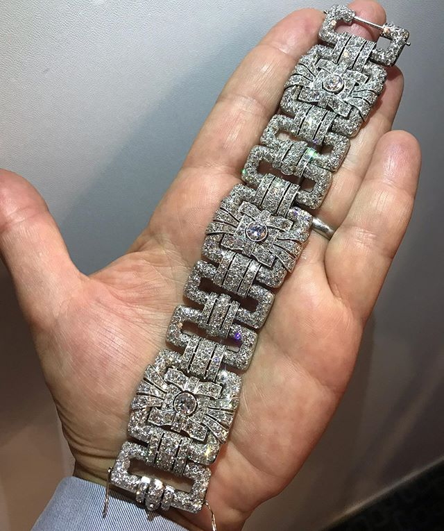 Fine Art Deco platinum and diamond bracelet made in France#artdeco#platinumanddiamonds #diamonds#jsjewelsltd #forsale booth CHC19