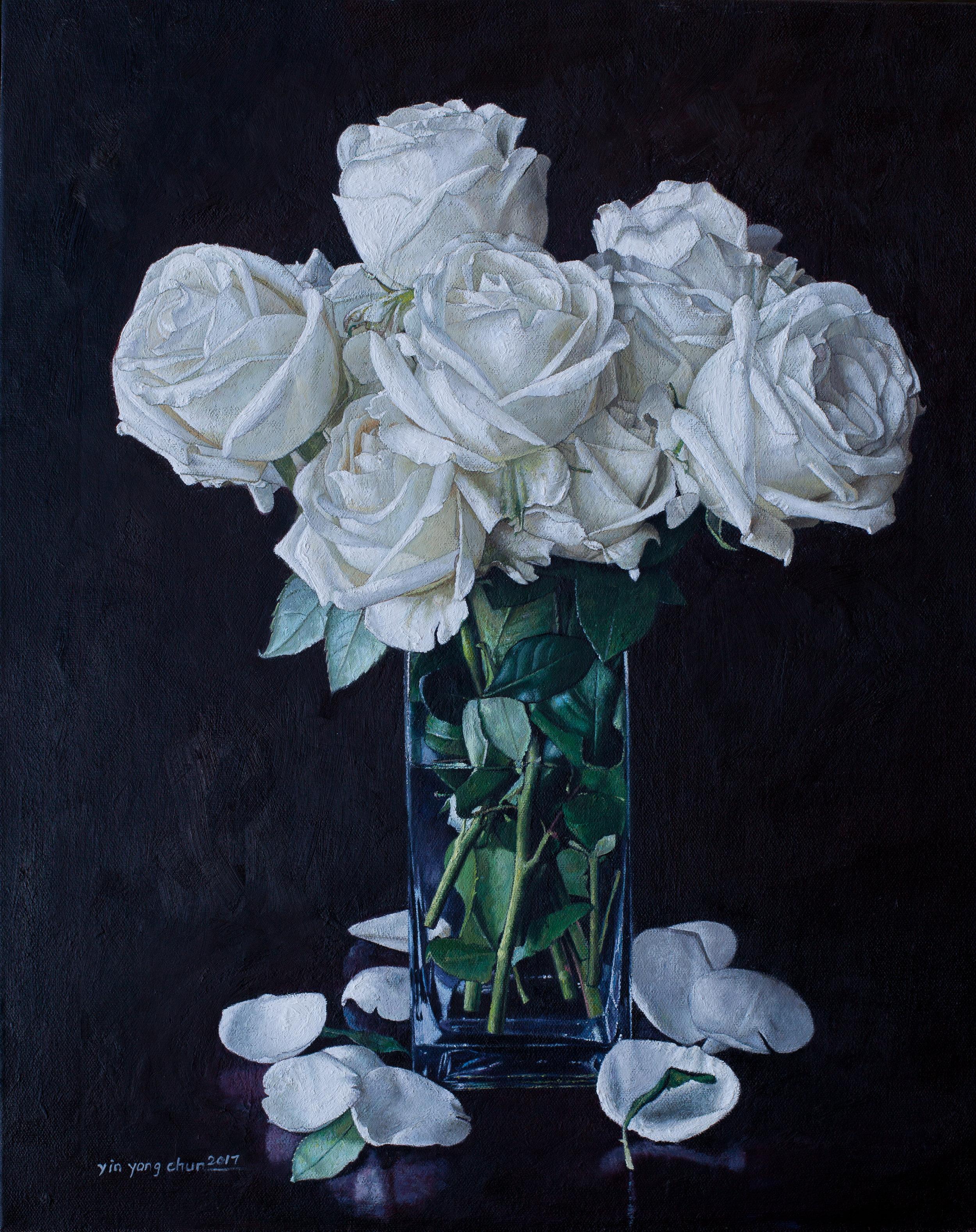 White roses  16 x 20  2017