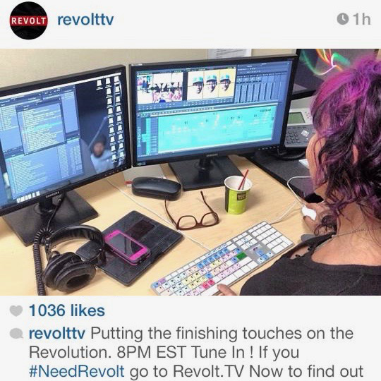 "Weeks prior to launching the REVOLT TV network. Editing for the shows ""Revolt Live"" + ""In Harms Way""."