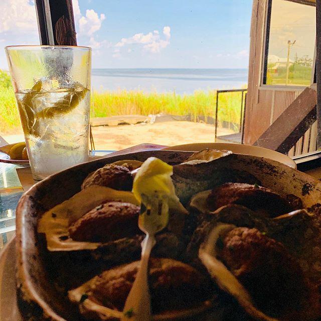 Ocean lunch! #bakedoysters #felixsfishcamp #oceanorbust #fuckinacincarbrokeandits95outside