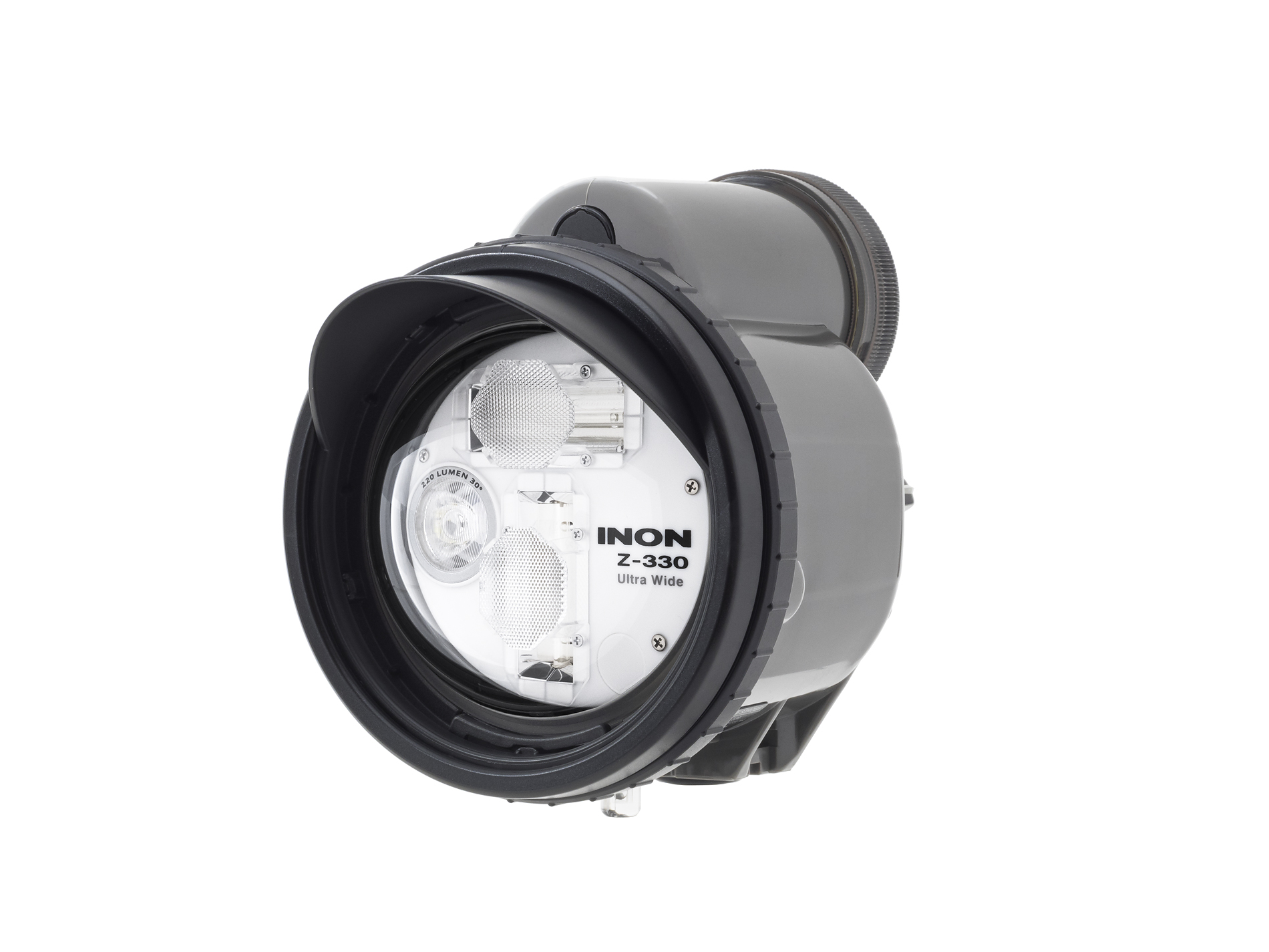 The Z330 is the top of the range strobe produced by INON. The moveable peaked hood is designed to reduce backscatter in shots.