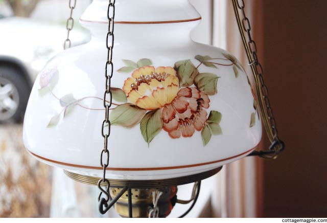 Vintage Hanging Swag Lamp with Handpainted Glass Shade