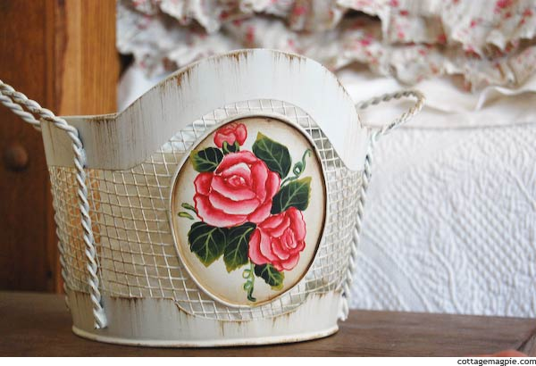 Hand-Painted Wire Basket