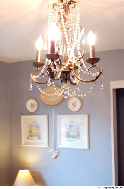 Bunny Prints on Wall with Chandelier