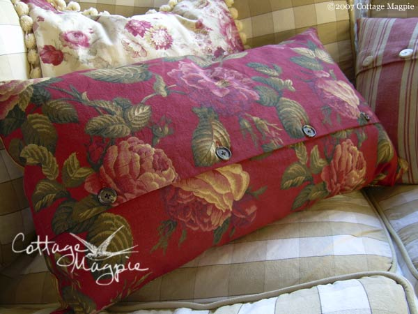 Red Floral and Stripe Pillow