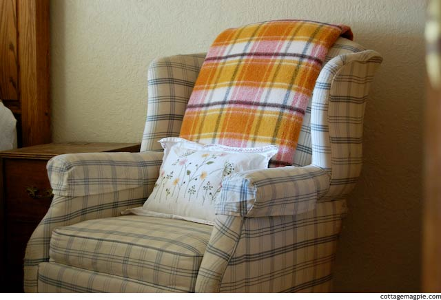 Cozy Vintage Blanket on Wing-Back Chair