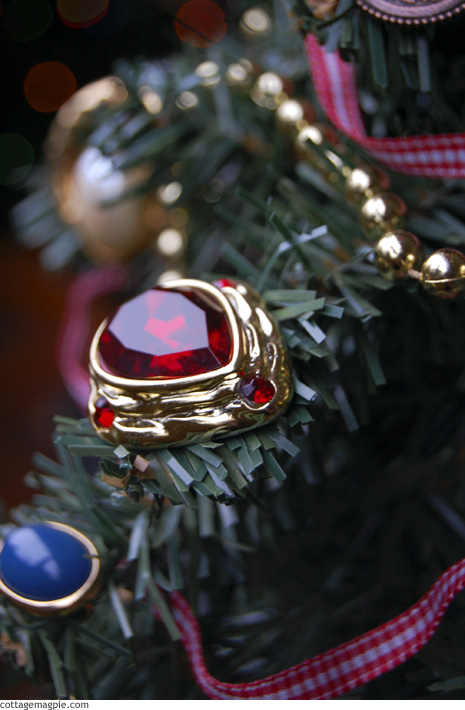 Vintage Earring as Mini Tree Ornament