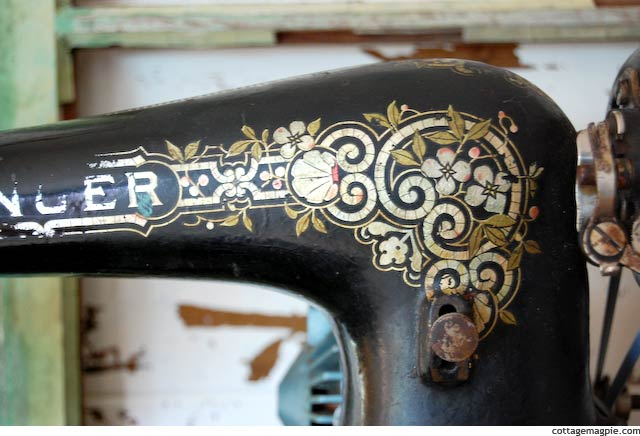 Decorative Detail on Singer Featherweight Sewing Machine