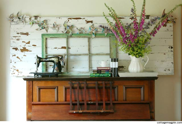 Early Summer Piano Decorated as Mantel