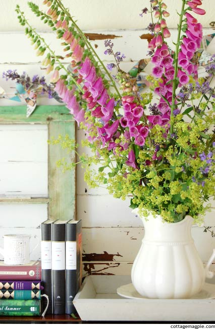 Bouquet of Foxgloves, Catmint and Lady's Mantle on Summer Mantel