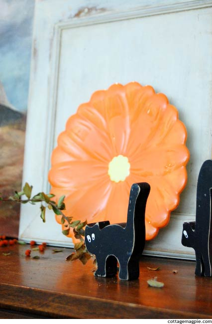 Orange Plate and Little Black Kitty on Fall and Hallween Mantel
