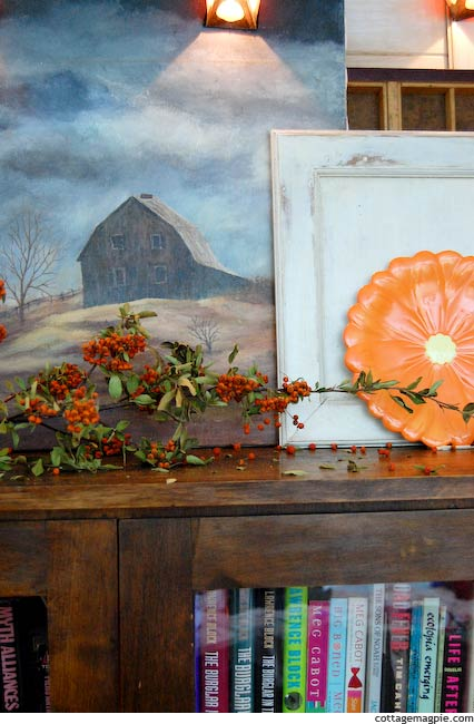 The Glassed Bookcase Turned Fall and Halloween Mantel