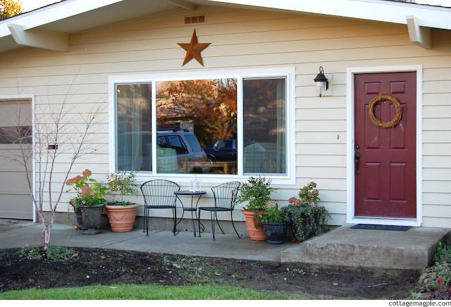 Sightly Improved Front Porch at Pear Tree Cottage via Cottage Magpie
