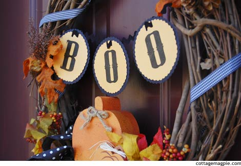 Boo Banner on Wreath