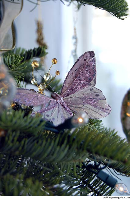 Glittered Feather Butterfly Christmas Ornament