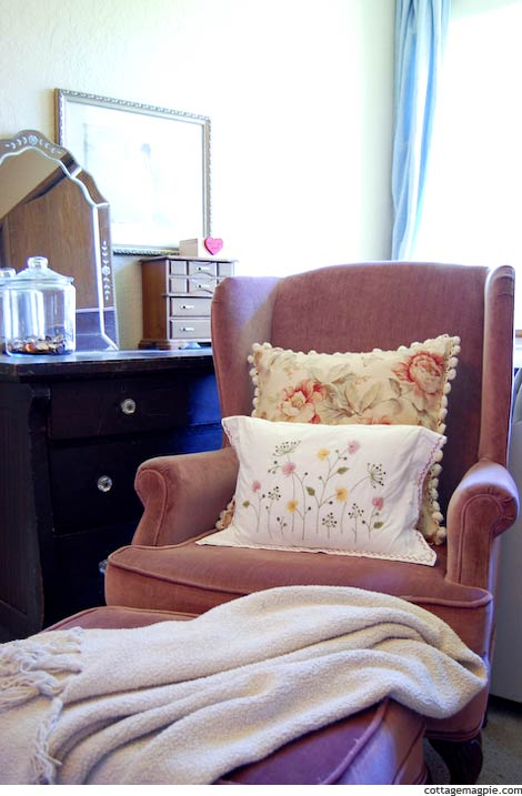 Mauve Wing Chair and Ottoman