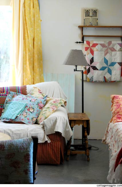 Family Room with Fabric Samples Hanging Up