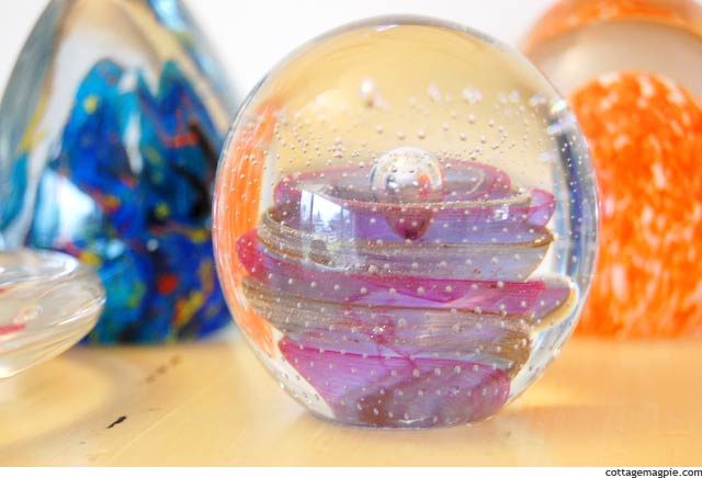 Pretty Glass Paperweights via Cottage Magpie