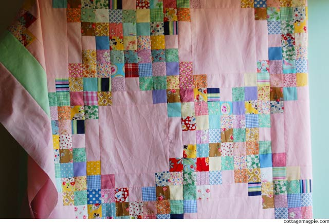 Scrappy Pink & Green Irish Chain Top is Done via cottagemagpie.com