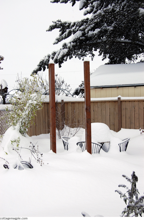 Snow Covered Dining Area