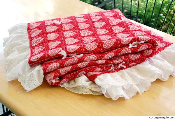 Thrifted Red Heart Quilt with Ruffle