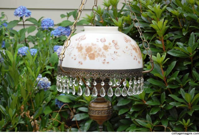 Vintage Hanging Lamp with Hand-Painted Glass Shade via cottagemagpie.com
