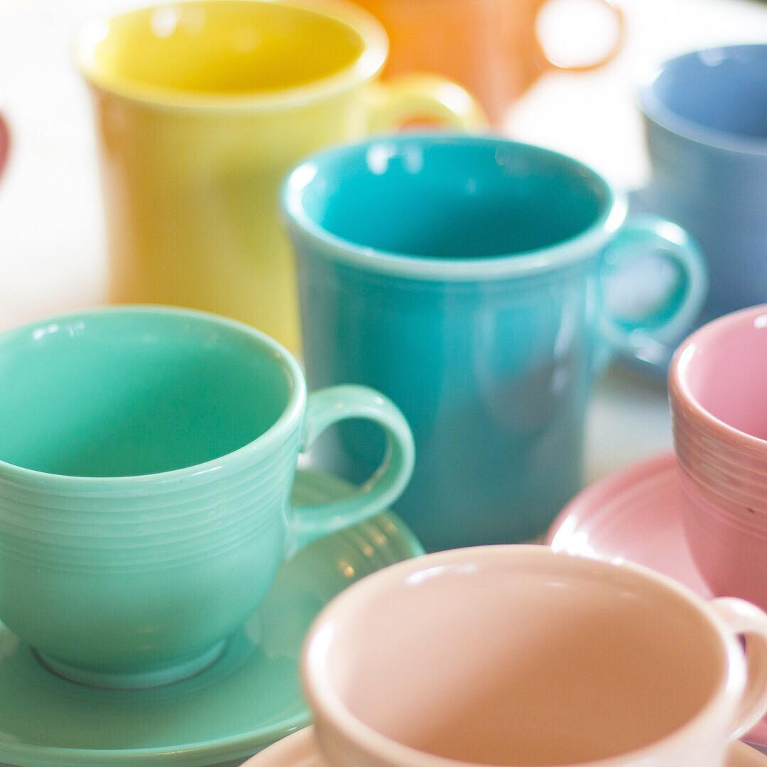 Fiestaware Cups & Mugs - via www.cottagemagpie.com