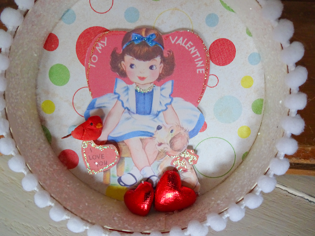 Embellishments on Valentine's Day Shadowbox Ornament via www.angelamaywaller.com