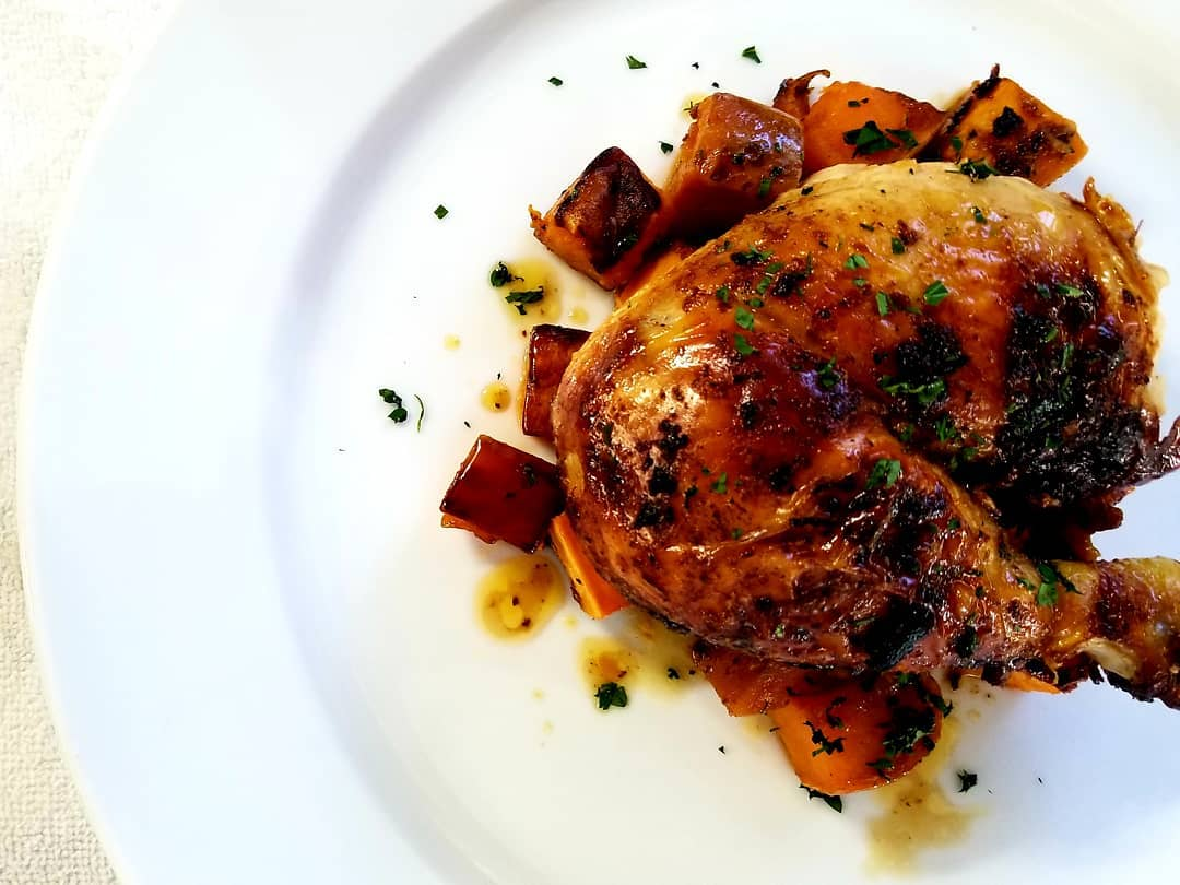 Roasted chicken and sweet potato -