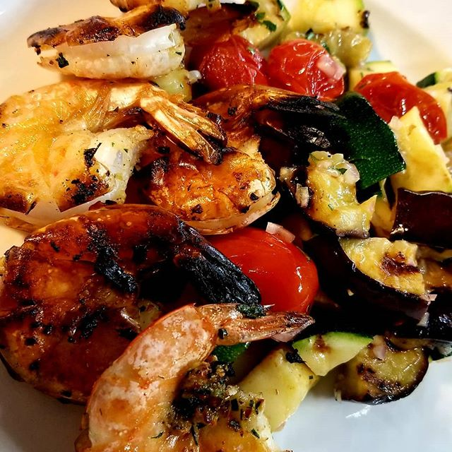Grilled shrimp and roasted eggplant -