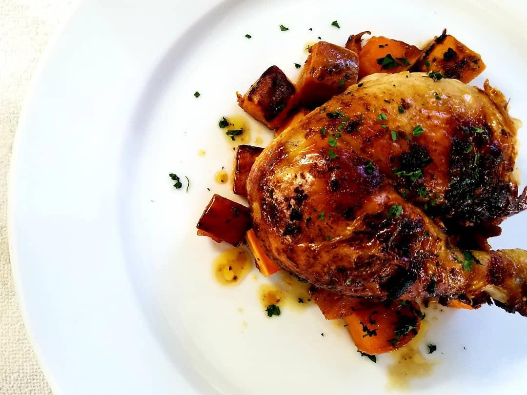 Roasted Chicken - sweet potato bacon -