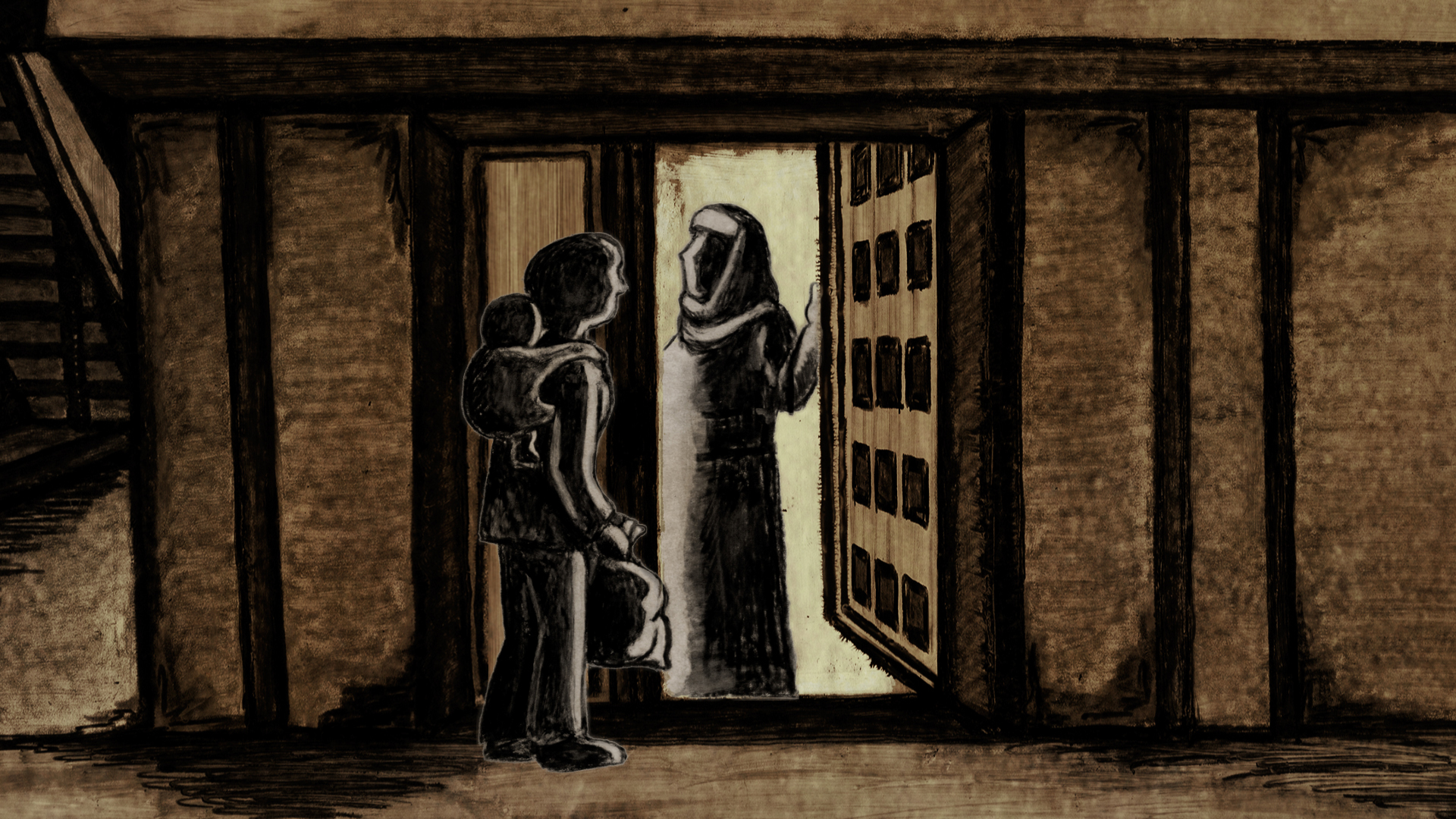 At Door with Leaflet, still from animated sequence in Naila and the Uprising, Directed by Julia Bacha. Image Courtesy of Just Vision.