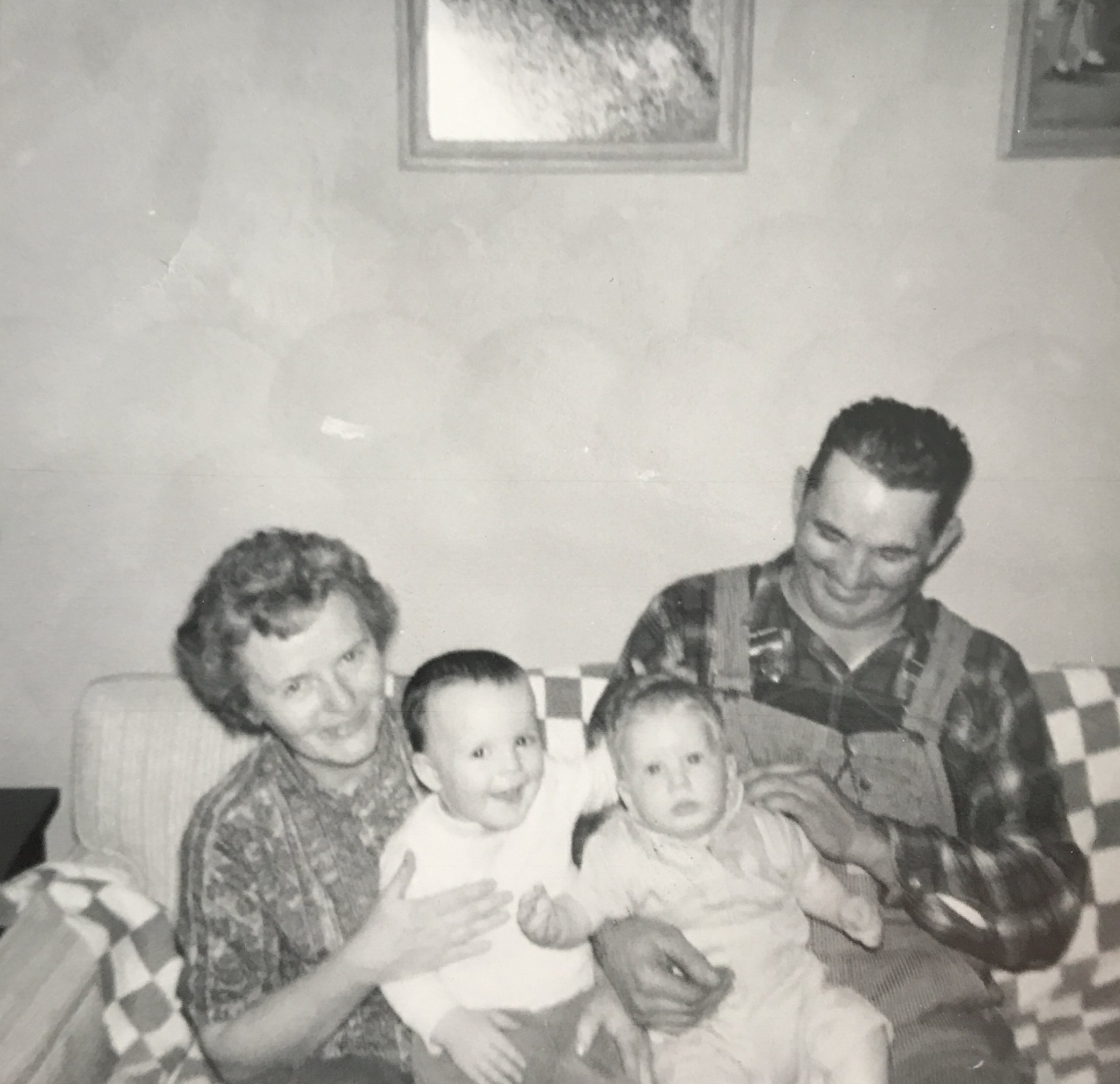 Grandma and Grandpa Andrew in Jacksonville with me and Dave.