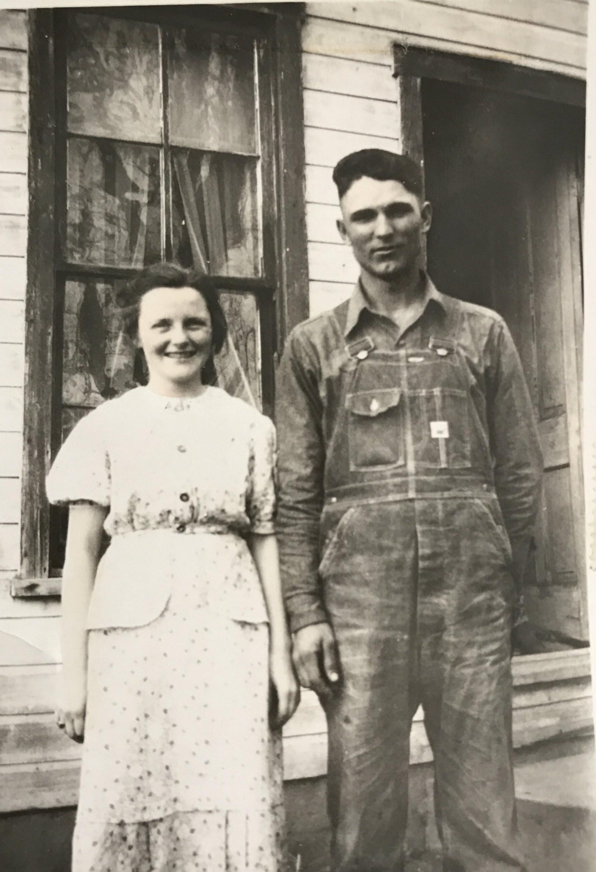 A young Grandma and Grandpa Andrew on their farm near Quincy, Illinois.