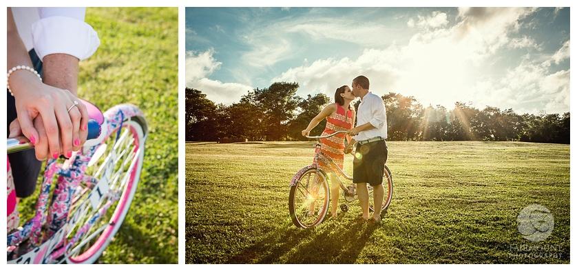 Turezyn Daponte Engagement Rhode Island bike kiss sunset