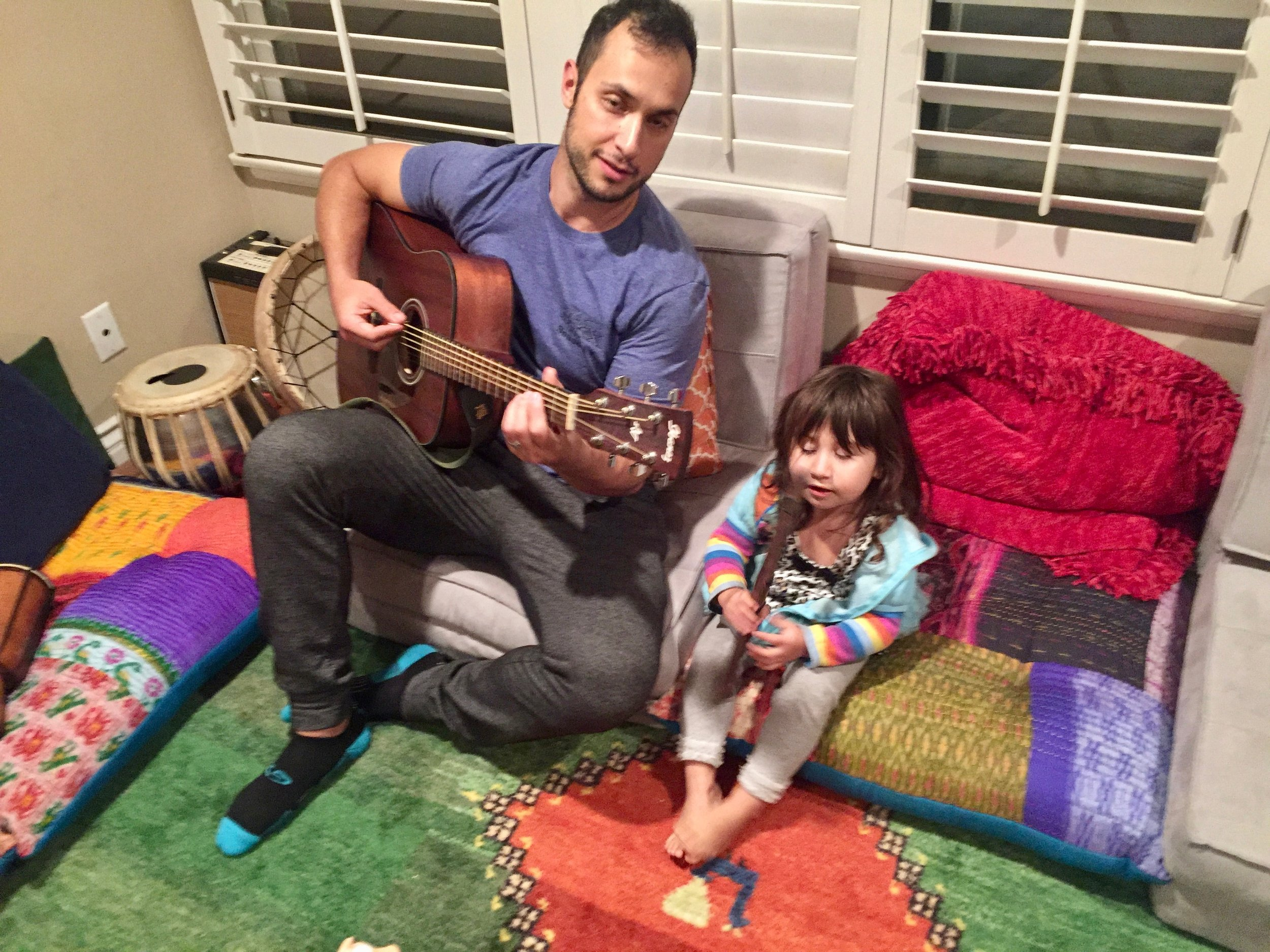 Jaylen and Leili making music.
