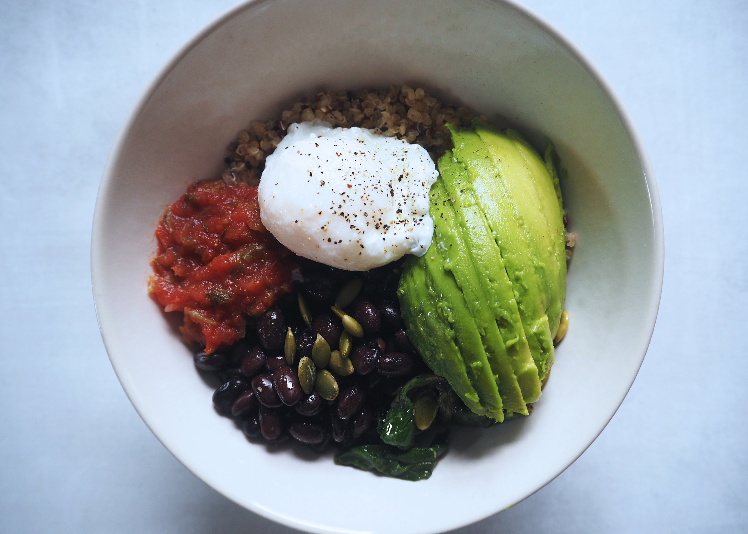 Quinoa Breakfast Taco Bowl by Whitespace and Wellness