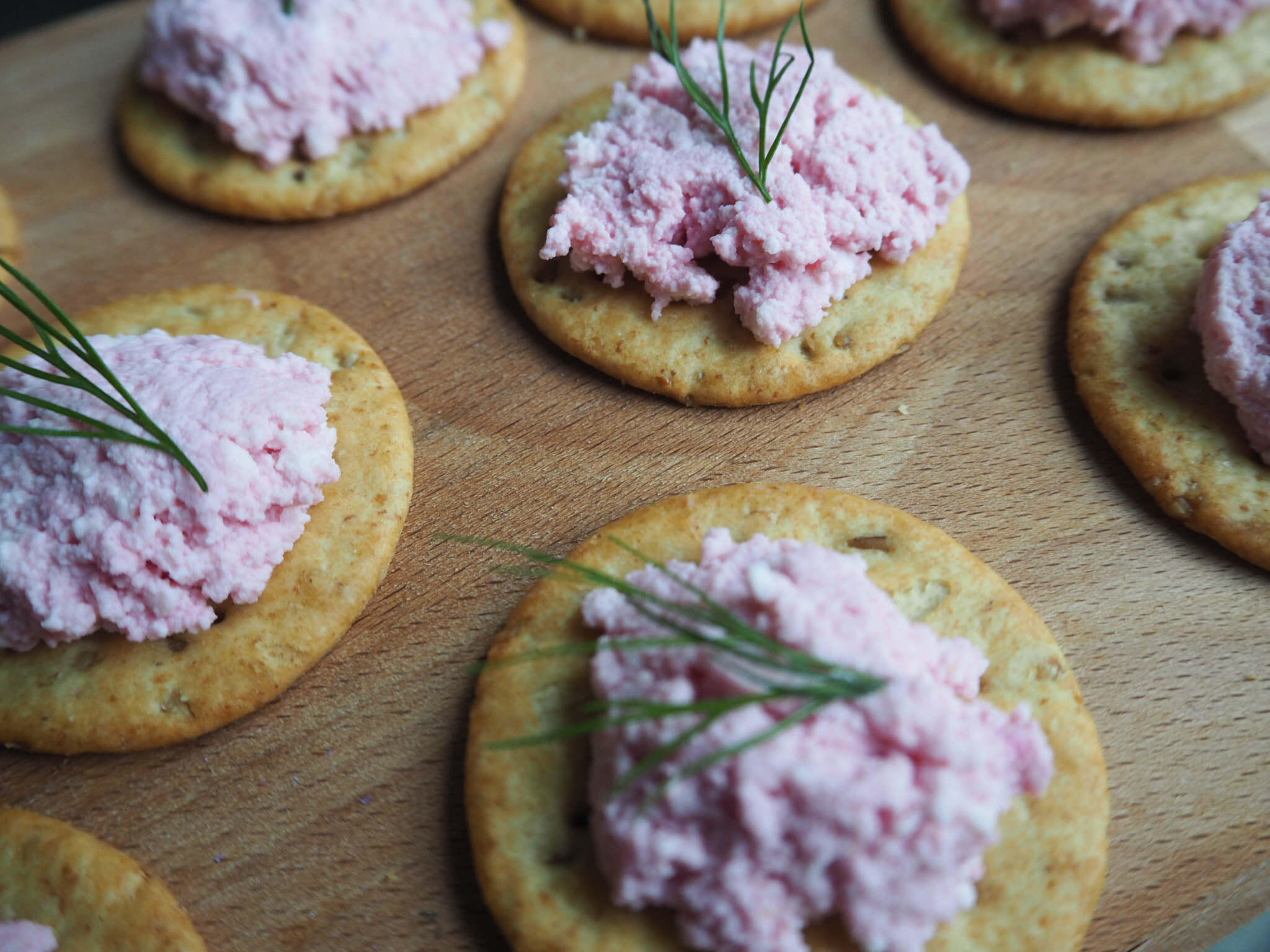 Beets and almond cheese crackers by W+W