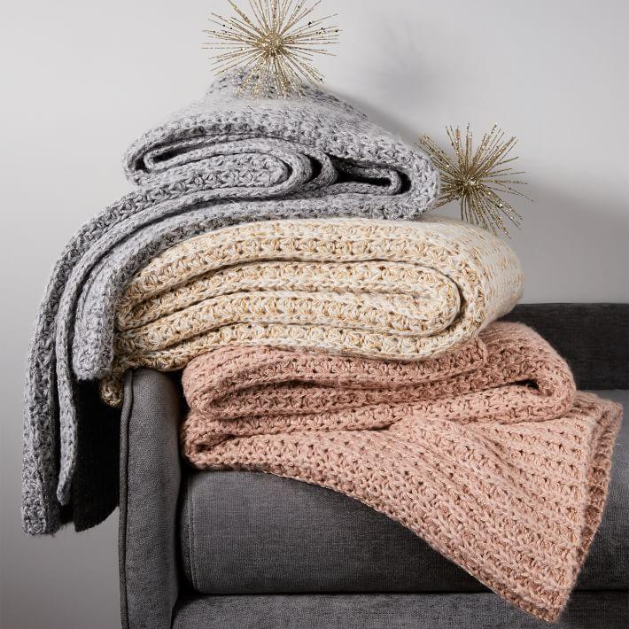 West Elm Metallic knit throw